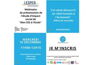 """L'ESPER : Invitation à un webiaire de présentation de l'étude d'impact du dispositif """"Mon ESS à l'Ecole"""""""