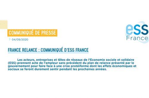 Communiqué ESS France sur le Plan de relance